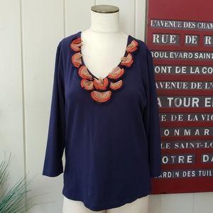 Ruby Rd. | M Navy shirt with orange tan embellish